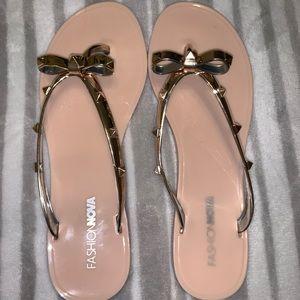Fashion Nova Studded Bow Sandals.